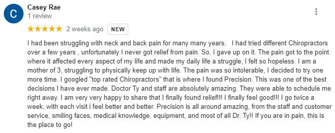 Chiropractic Green Bay WI Patient Testimonial